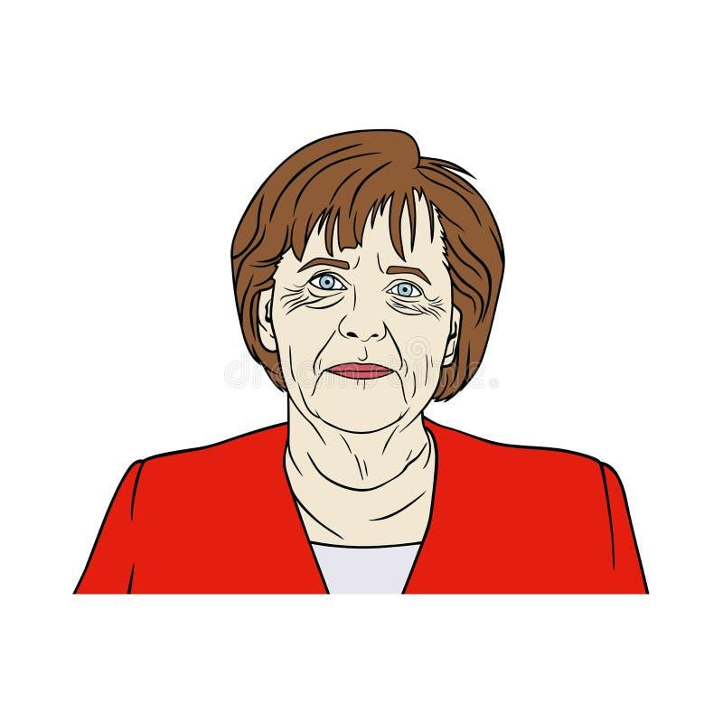 Angela Merkel portret, wystrzał sztuka, Płaska projekt ilustracja ilustracji