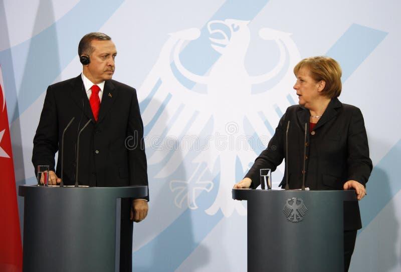 Angela Merkel Recep Tayyip Erdogan arkivbilder