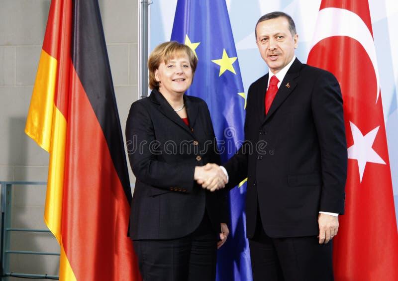 Angela Merkel, Recep Tayyip Erdogan. FEBRUARY 8, 2008 - BERLIN: Chancellor Angela Merkel, Turkish Prime Minister Recep Tayyip Erdogan at a press conference after stock photography