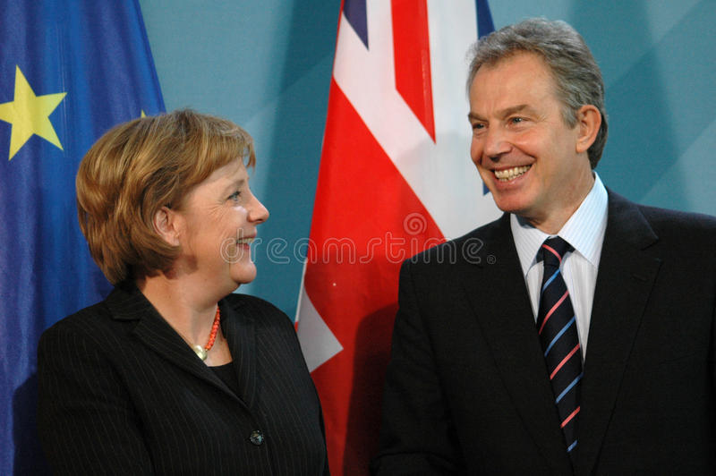 Angela Merkel, Tony Blair royalty-vrije stock afbeeldingen