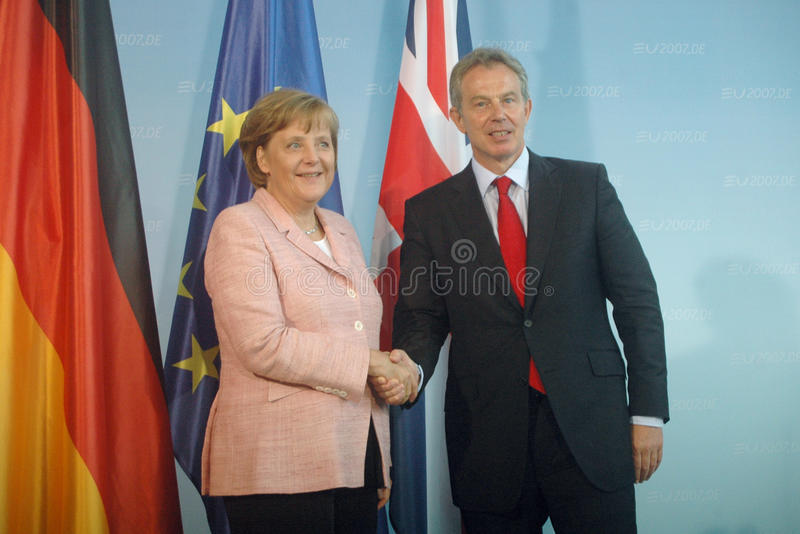 Angela Merkel, Tony Blair. JUNE 3, 2007 - BERLIN: Chancellor Angela Merkel, British Prime Minister Tony Blair at a press conference after a meeting in the stock image