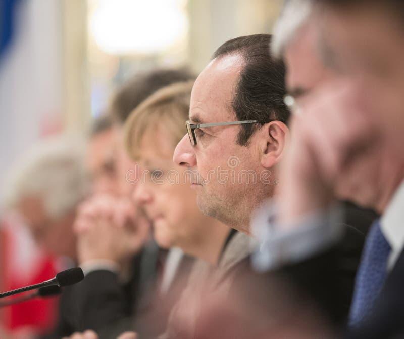Angela Merkel und Francois Hollande lizenzfreie stockbilder
