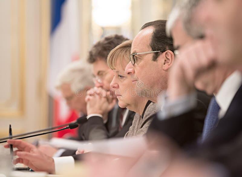 Angela Merkel und Francois Hollande stockbilder