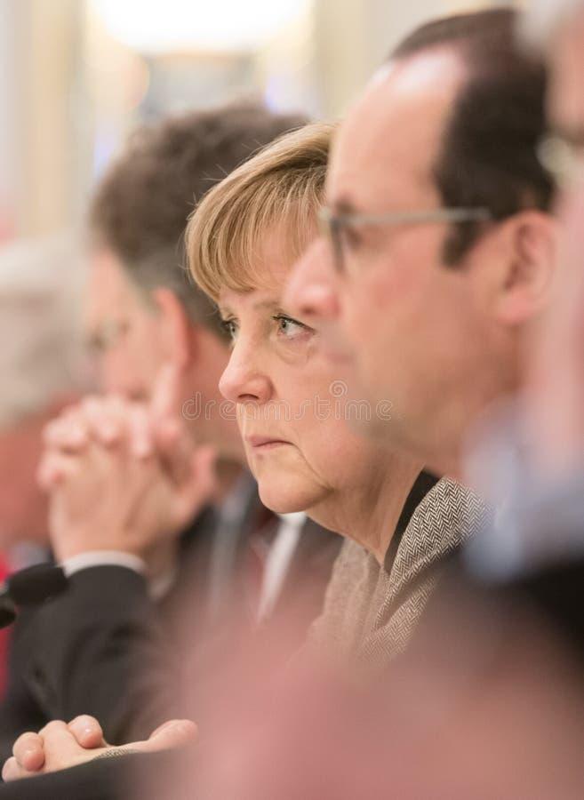 Angela Merkel und Francois Hollande lizenzfreies stockbild