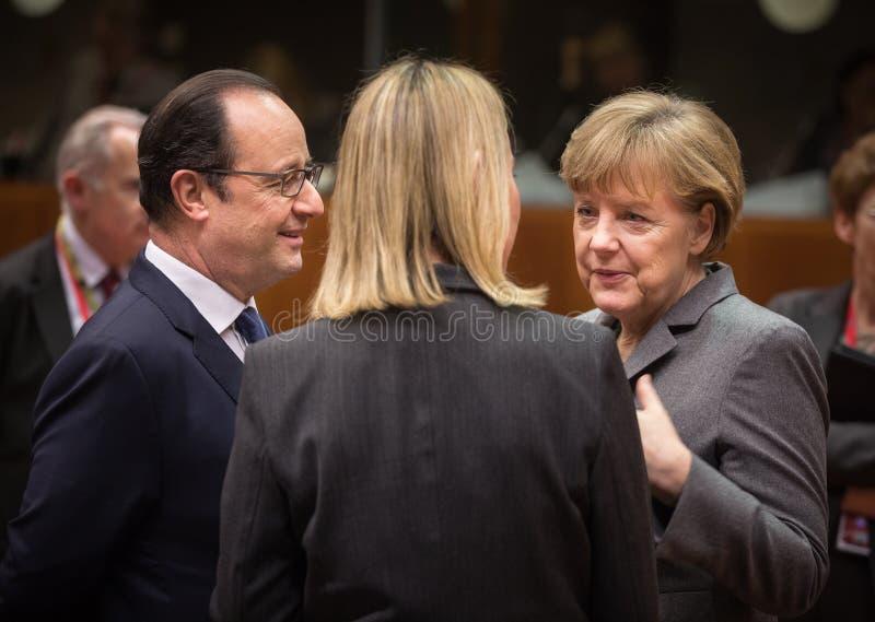 Angela Merkel und Francois Hollande stockfotografie