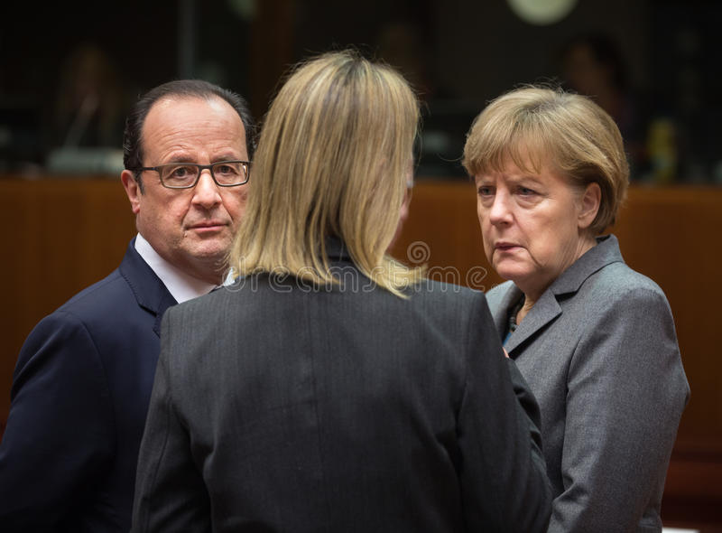 Angela Merkel und Francois Hollande stockfoto