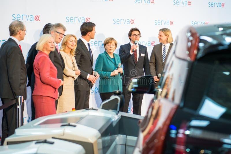 Angela Merkel und Mark Rutte im Hannover Messe, am 7. April 2014 lizenzfreie stockfotografie