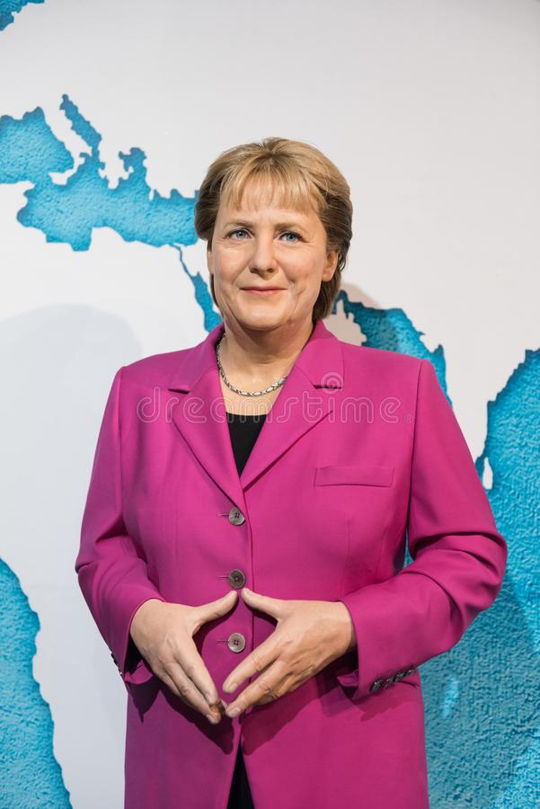 Angela Merkel vaxskulptur, madam Tussaud royaltyfria bilder