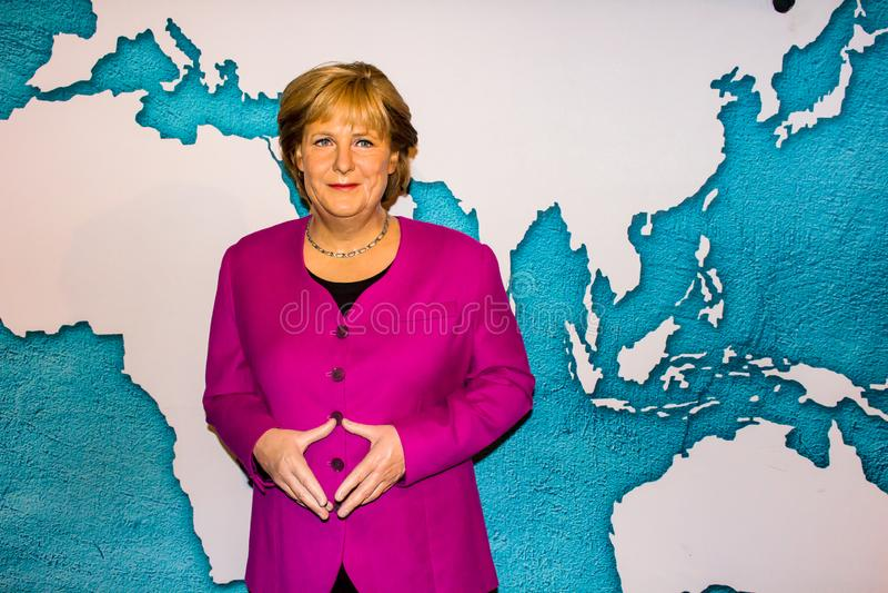 Angela Merkel vaxstaty, museum för madam Tussauds, Amsterdam arkivbild