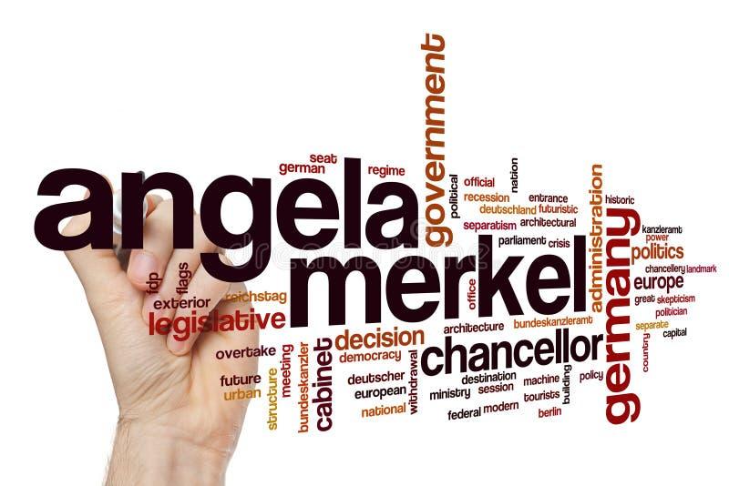 Angela Merkel-woordwolk stock foto