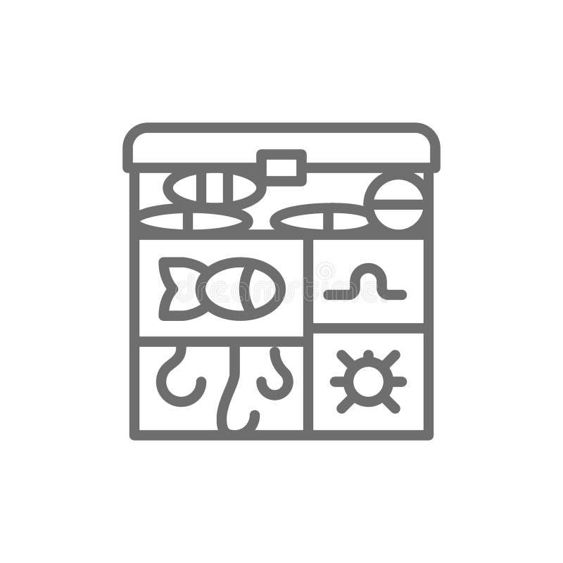 Angelausrüstungskasten, Haken, Köder zeichnen Ikone stock abbildung