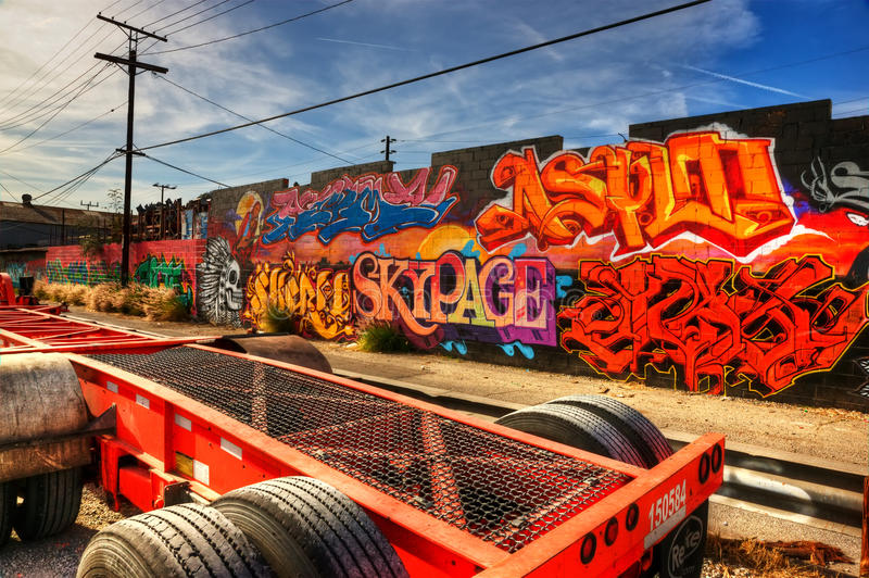 angeles östliga grafitti los royaltyfri fotografi