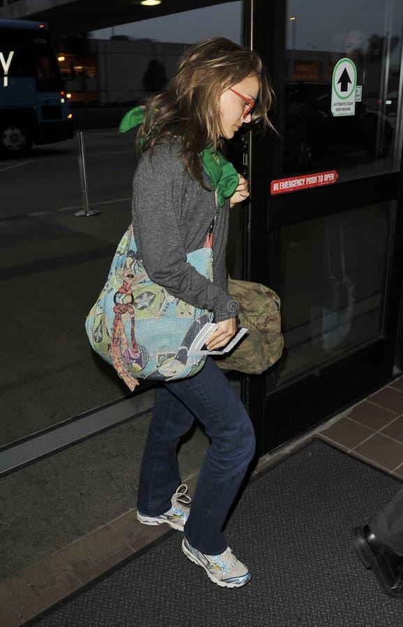 A Angeles-Actriz Natalie Portman do LOS é vista no LA imagens de stock
