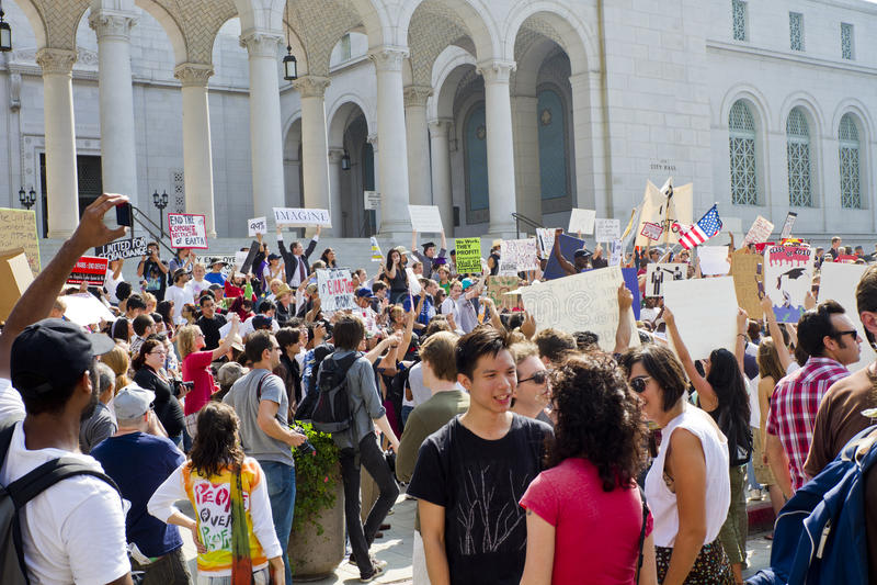 angeles demonstrantów losu angeles los marsz zajmuje fotografia royalty free