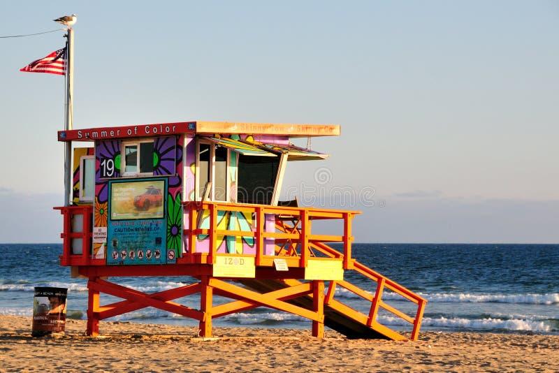 angeles strandlivräddare los venice arkivbilder