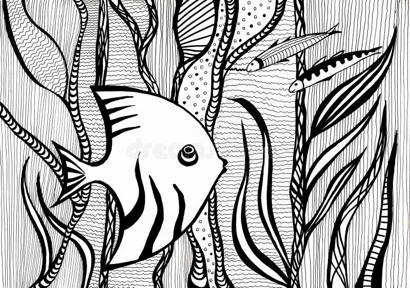 Angelfish между водорослями под водой в море иллюстрация вектора