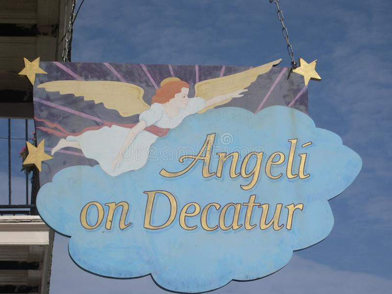 Angeli στο σπίτι πιτσών Decatur, Νέα Ορλεάνη, Λα στοκ εικόνες