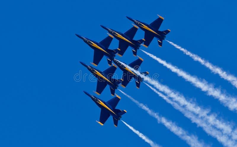 Angeli blu dello squadrone di dimostrazione del blu marino degli Stati Uniti fotografie stock libere da diritti