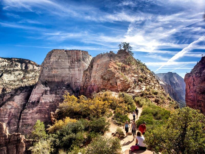 Angeli che atterrano in Zion National Park, Utah immagini stock