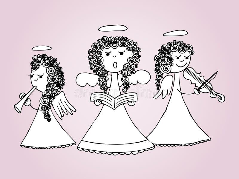 Angeli che cantano e che giocano i canti natalizii royalty illustrazione gratis