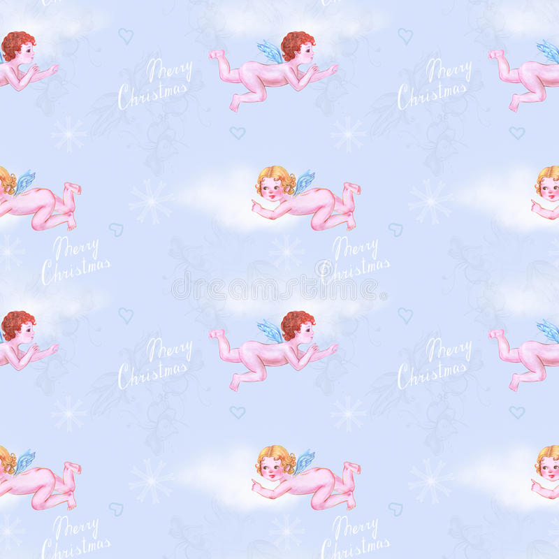 Angeli in cielo blu royalty illustrazione gratis