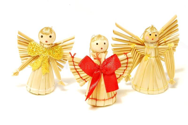Angeli della paglia di natale immagine stock