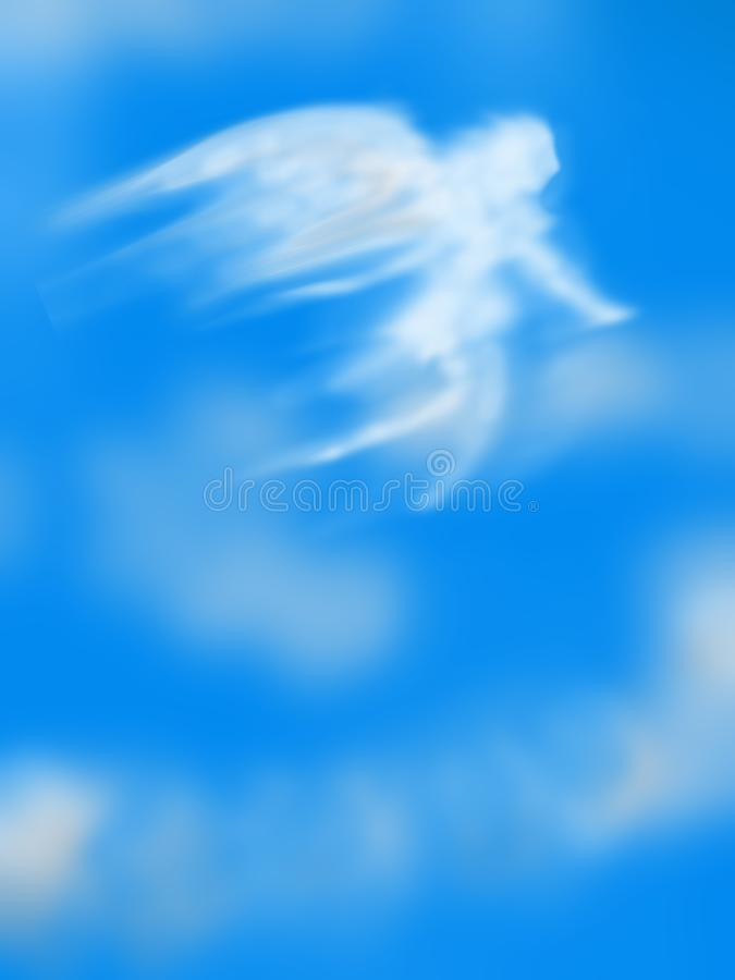 Angelic Angel in the Sky with Moon vertical vector illustration