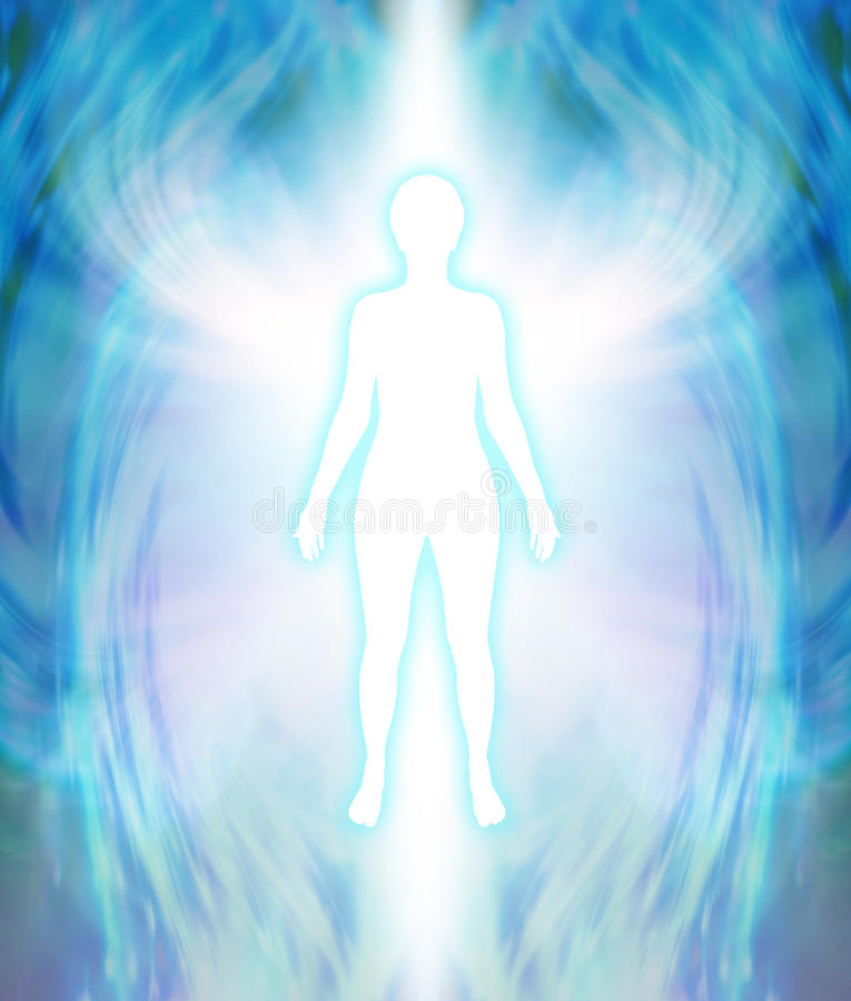 Angelic Aura Cleanse. White female silhouette figure with turquoise glow and delicate multi layered blue auric field radiating outwards with white wing-like royalty free illustration