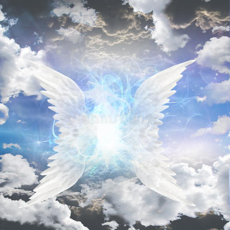 Angelic being obscured stock illustration