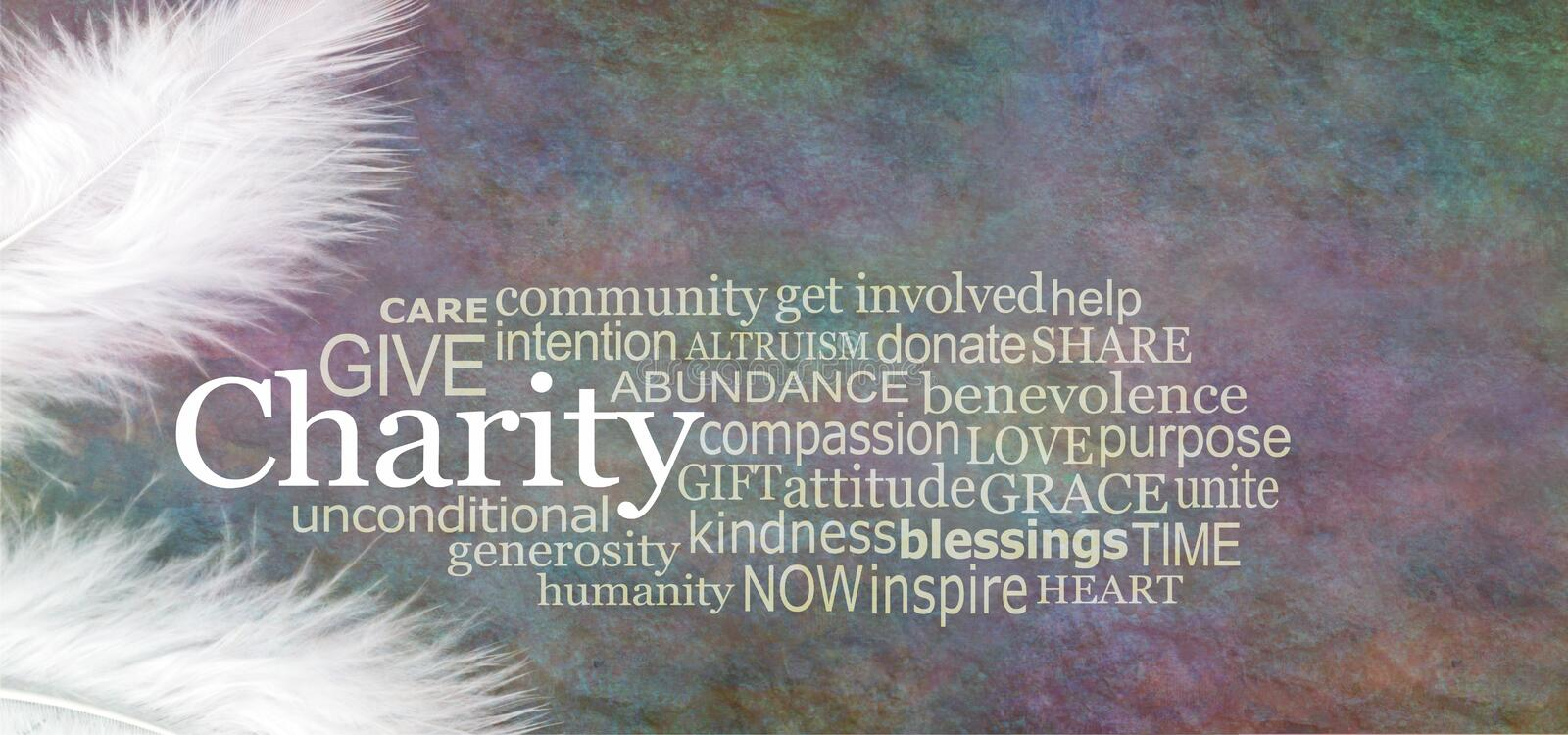 Angelic CHARITY Word Cloud Rustic Banner. Two white feathers with a CHARITY word cloud between against a dark stone effect multicoloured rustic grunge background royalty free stock image