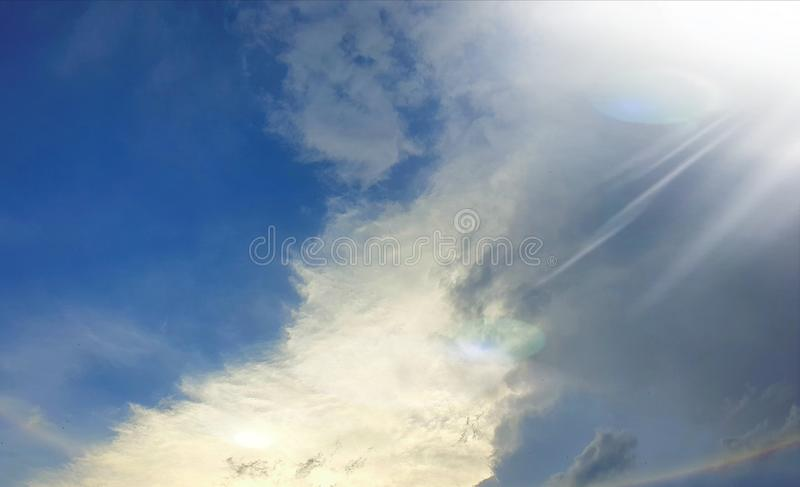 Stairway to the light. Angelic clouds looking like a stairway to heaven, photographed at Bloemfontein, South Africa royalty free stock photo