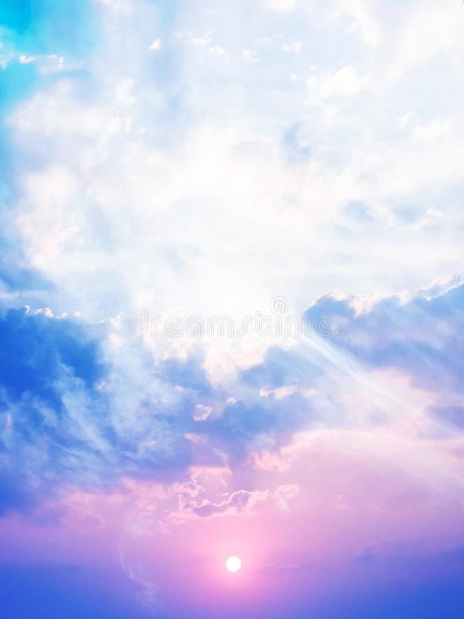 Angelic energy captured in the clouds,  photographed in Bloemfontein, South Africa. Angelic energy captured in the clouds, with blue, pink, white tones and royalty free stock images