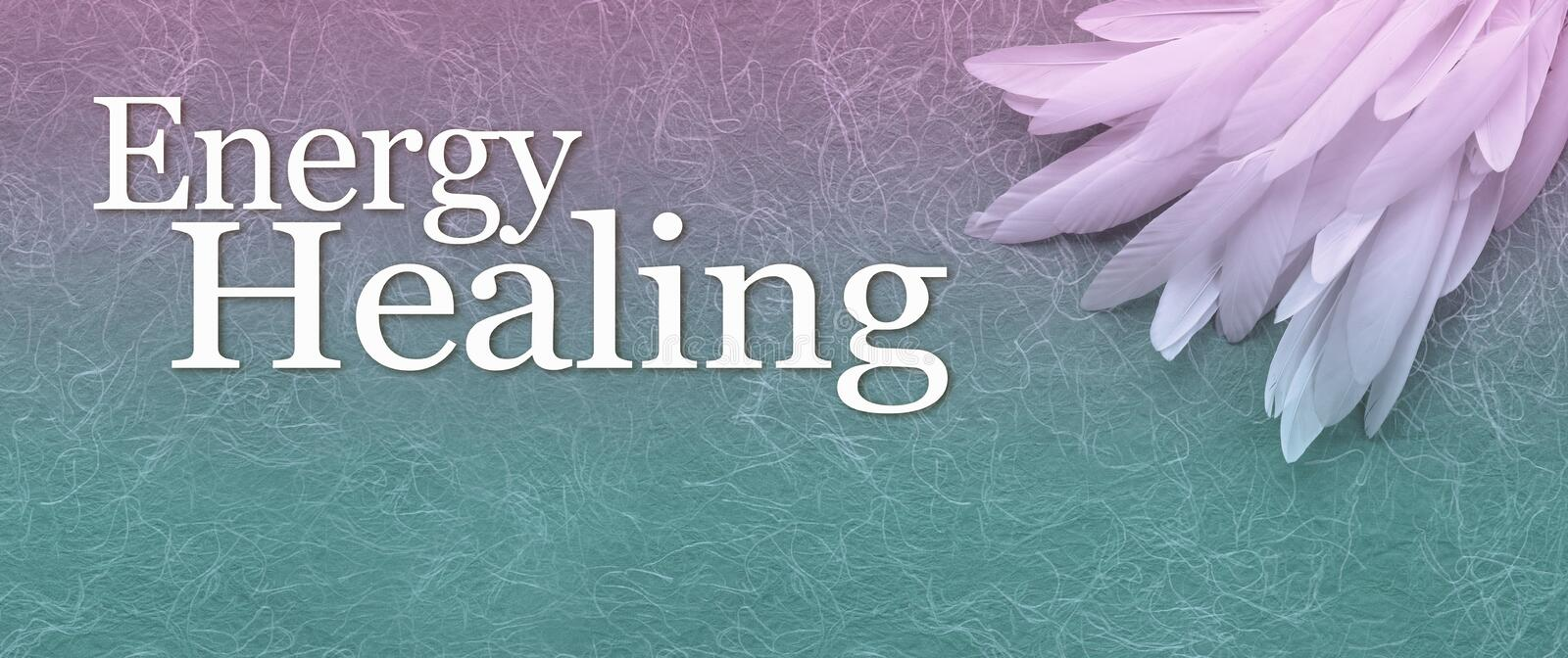 Angelic Energy Healing Banner Head. A neat pile of long thin white feather in the right corner beside the words ENERGY HEALING on a fibrous jade. and purple vector illustration
