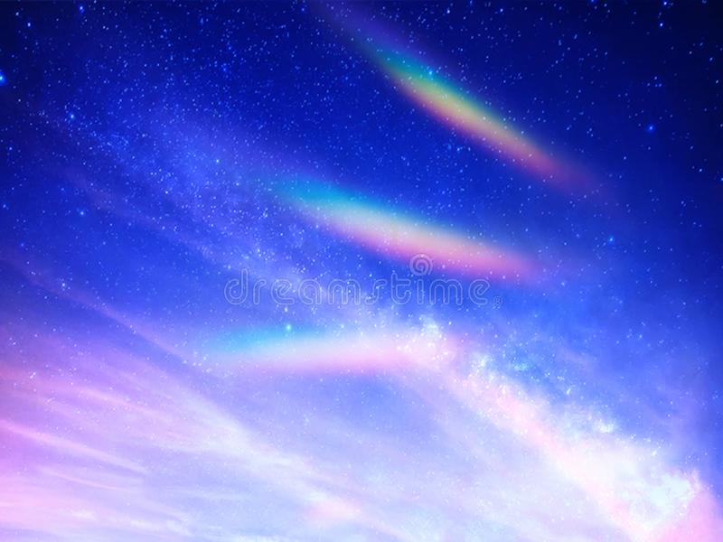 Angelic energy rainbow landscape. Angelic peaceful energy and rainbow lights in a deep blue sky stock image