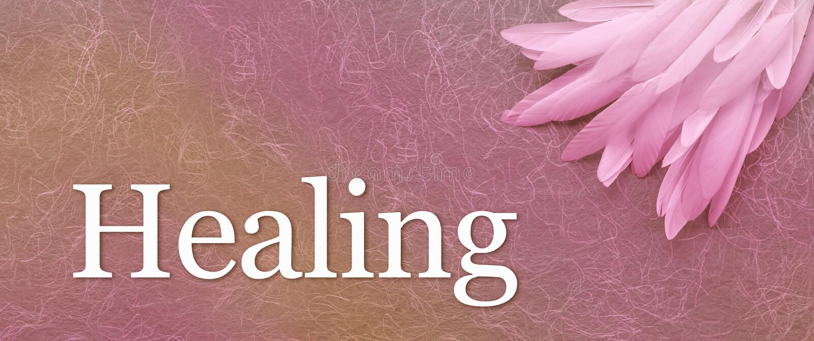 Angelic Feathers and Healing Banner Head. A pile of long white feathers in right corner laid on a pink handmade fibrous paper background with the word Healing stock image