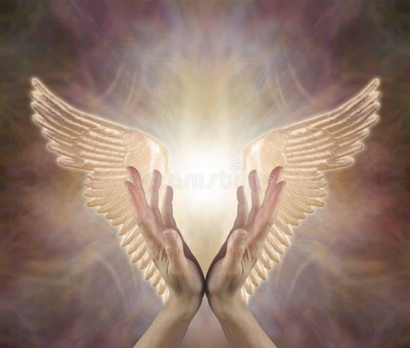Angelic Golden Healing Energy de canalización imagen de archivo