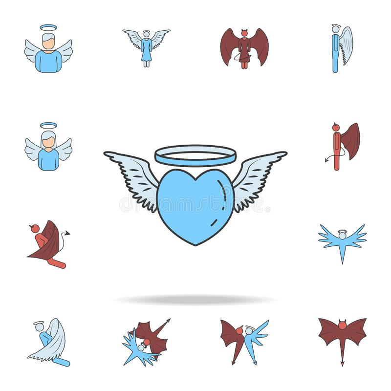Angelic heart color field outline icon. Detailed set of angel and demon icons. Premium graphic design. One of the collection icons. For websites, web design royalty free illustration