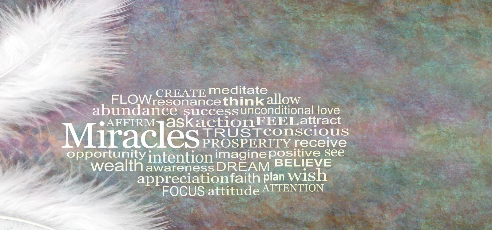 Angelic MIRACLES Word Cloud Rustic Banner. Two white feathers with a MIRACLES word cloud between against a stone effect multicoloured rustic grunge background stock photos