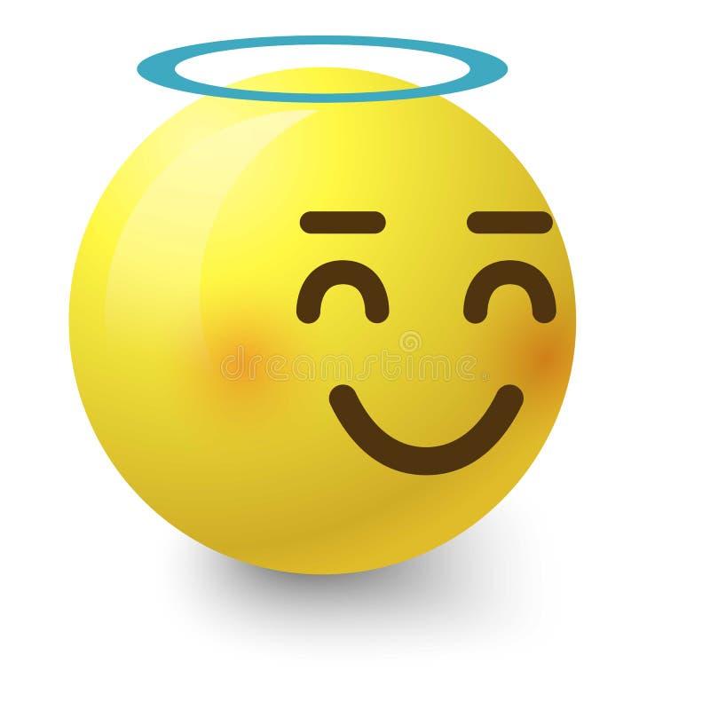 Angelic smiley icon, cartoon style. Angelic smiley icon. Cartoon illustration of angelic smiley vector icon for web stock illustration