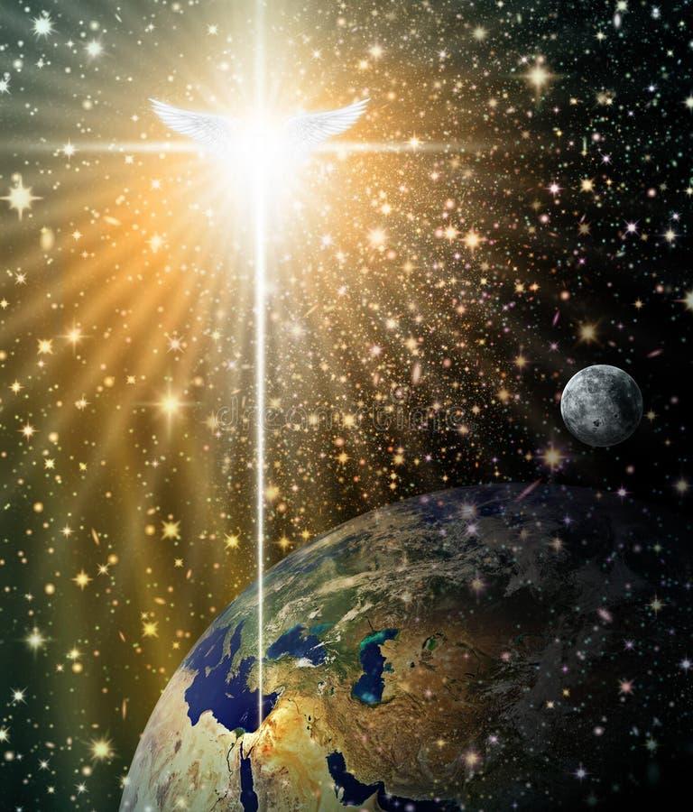 Angelic Star sopra Betlemme illustrazione di stock
