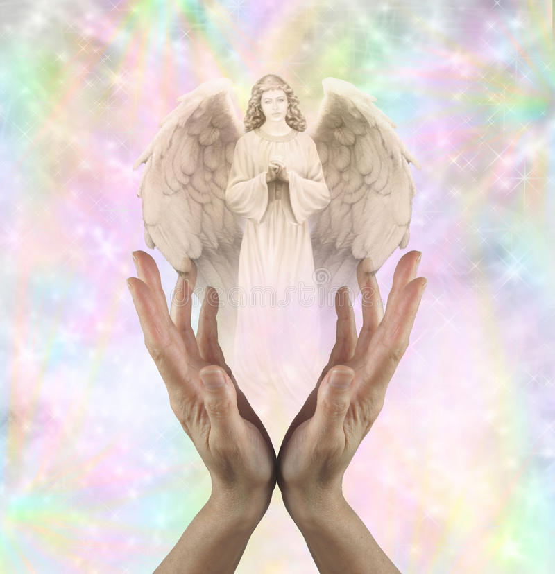 Angelic Vision. Female hands reaching up with an Angel floating above on a rainbow colored sparkly background royalty free stock photos