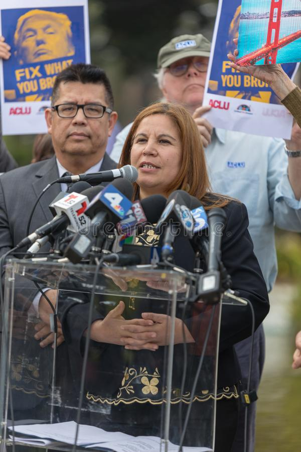 Angelica Salas of CHIRLA speaking at the Defend Dreamers Rally. BEVERLY HILLS, CALIFORNIA - MARCH 12, 2018: Angelica Salas of CHIRLA speaks at the Defend stock photography