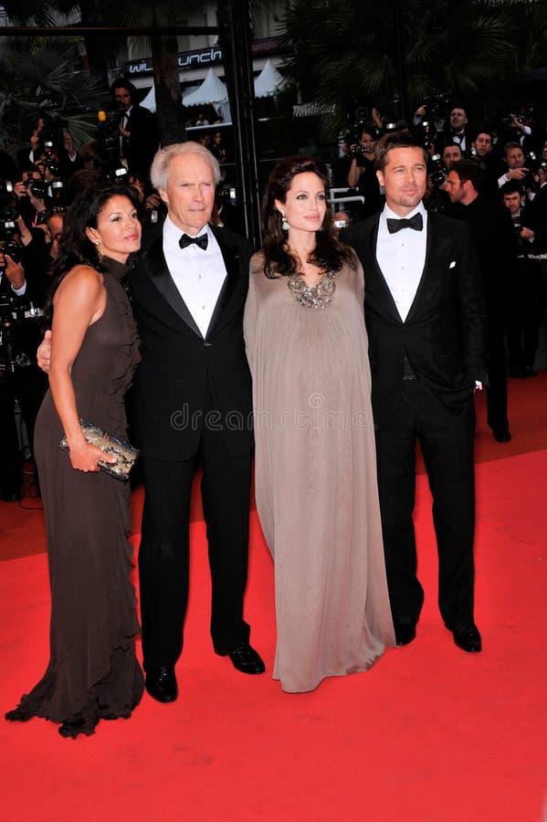 Angelina Jolie, Brad Pitt, Clint Eastwood,第纳Eastwood 免版税库存照片