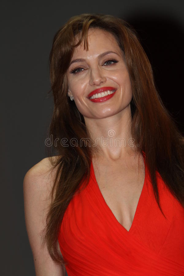 Angelina Jolie. MOSCOW, RUSSIA - JULY 25: US Actress Angelina Jolie attends the premier of the new movie 'Salt' in Oktyabr cinema hall on July 25, 2010 in Moscow royalty free stock photo