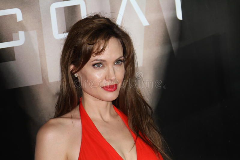 Angelina Jolie. MOSCOW, RUSSIA - JULY 25: US Actress Angelina Jolie attends the premier of the new movie 'Salt' in Oktyabr cinema hall on July 25, 2010 in Moscow stock photo