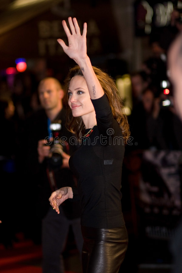 Angelina Jolie. At the european premiere of 'Beowulf' at the Vue cinema on November 11, 2007, London, England stock image
