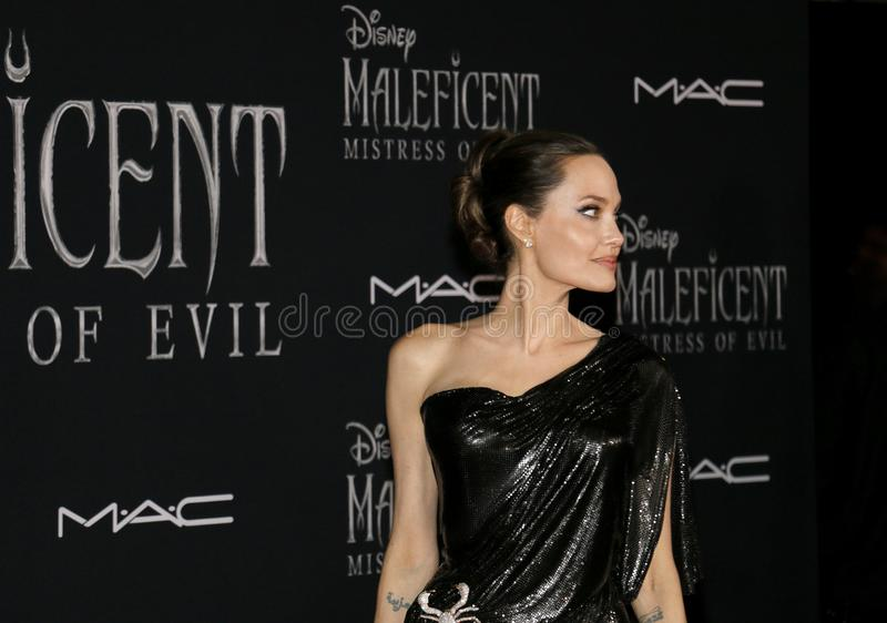 Angelina Jolie. At the World premiere of Disney`s `Maleficent: Mistress Of Evil` held at the El Capitan Theatre in Hollywood, USA on September 30, 2019 royalty free stock photos