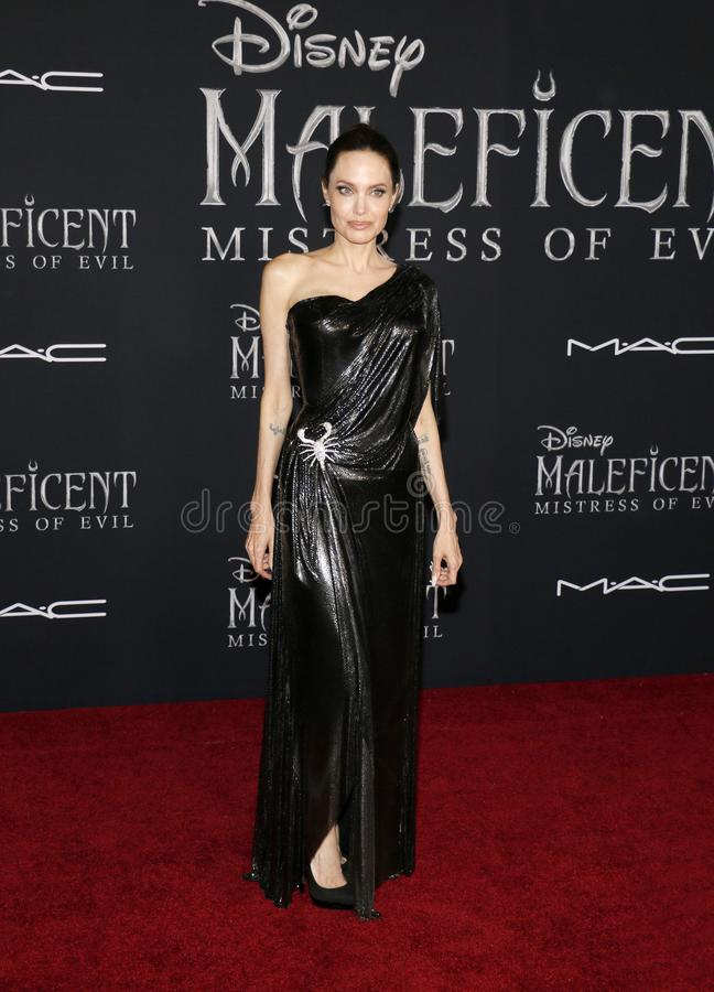 Angelina Jolie. At the World premiere of Disney`s `Maleficent: Mistress Of Evil` held at the El Capitan Theatre in Hollywood, USA on September 30, 2019 stock photos