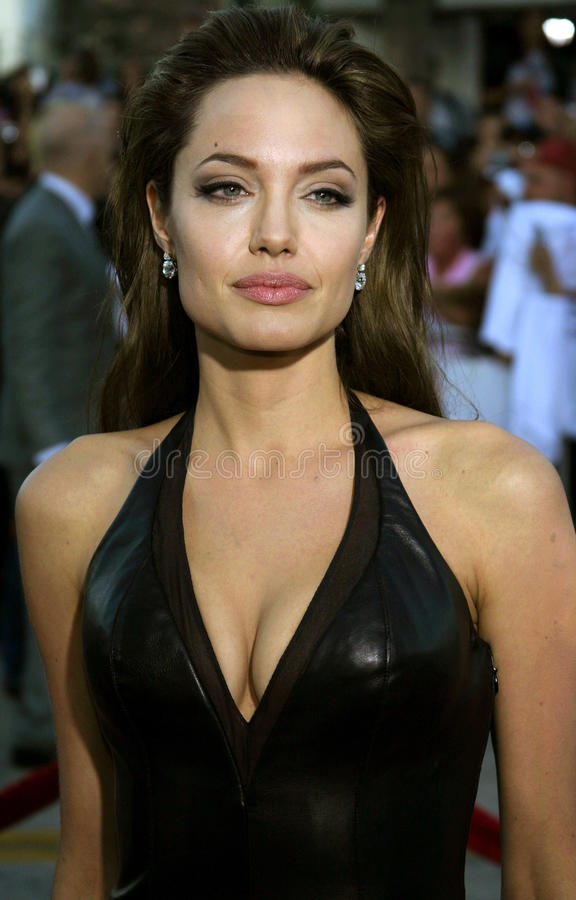 Angelina Jolie. Attends the Los Angeles Premiere of Mr. & Mrs. Smith held at the Mann's Village Theater in Westwood, California on June 7, 2005 royalty free stock images