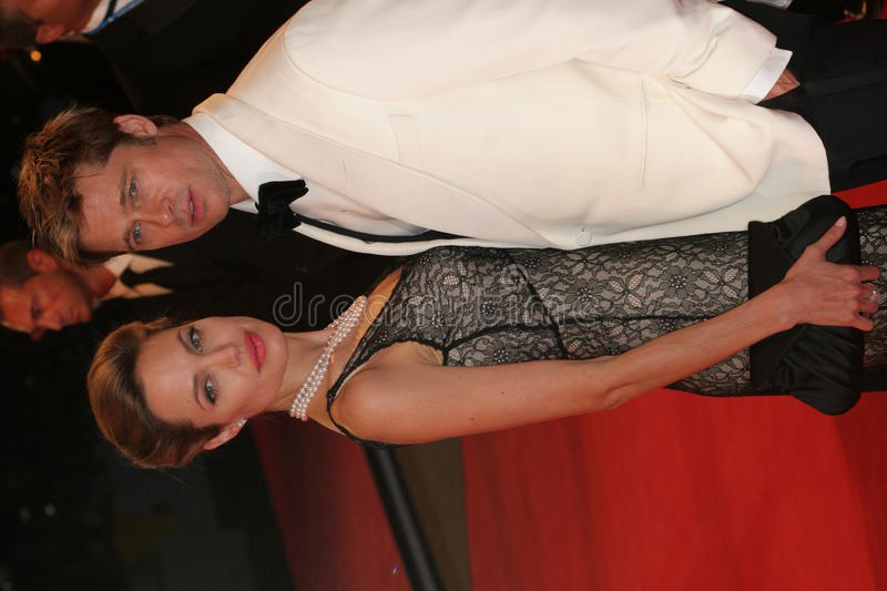 Angelina Jolie and Brad Pitt. VENICE - SEPT 2: Angelina Jolie and Brad Pitt attends the premiere of 'The Assassination of Jesse James by the coward Robert Ford' royalty free stock photos